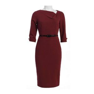 Donna Morgan Asymmetrical Crepe Dress In Mulberry.